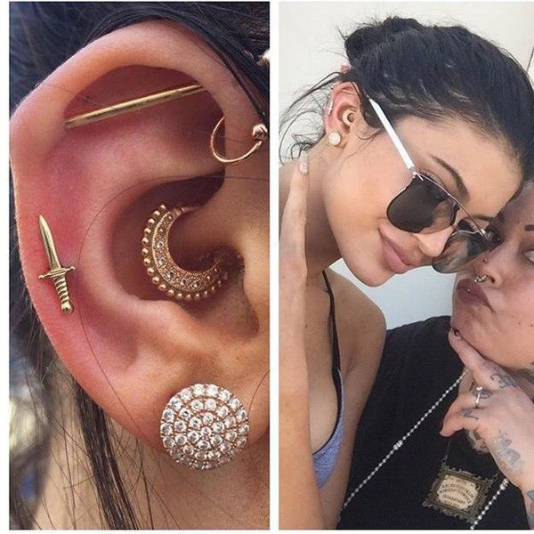 Get SUPER cute earrings & ear studs just like KYLIE'S!!  Get 10% off all body jewelry with code PINTEREST at www.throwbackannie.com !! All your piercing essentials under one roof  Find unique nipple bars, helix studs, belly button rings and much more!  Follow us on Pinterest, Instagram, Twitter, Facebook and Tumblr for the latest jewelry updates!!