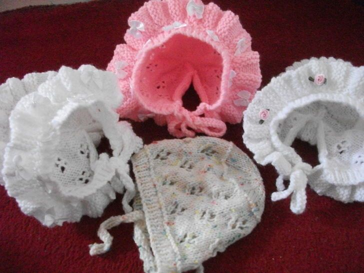KNITTING PATTERN Baby Bonnet with Lace Work Knitting