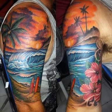 beach half sleeve tattoos for women - Google Search