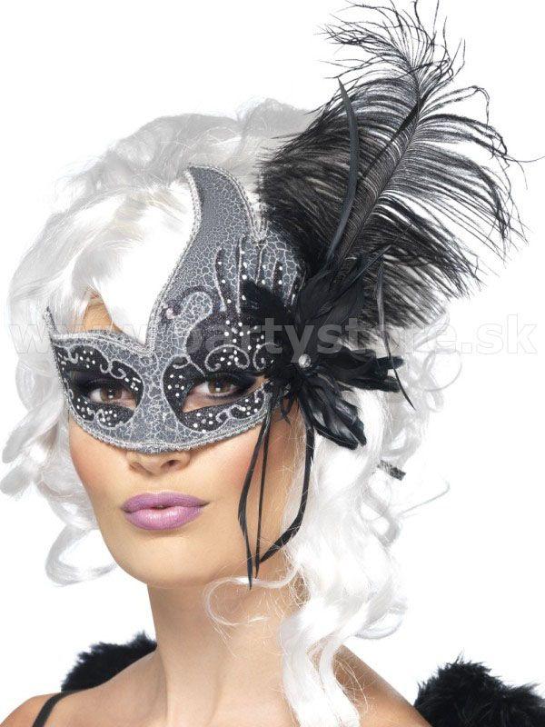 """Maska - škraboška """" Temný anjel """" čierno - strieborná s perím"""