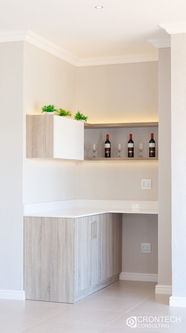 Small bar area. Sleek and sophisticated.