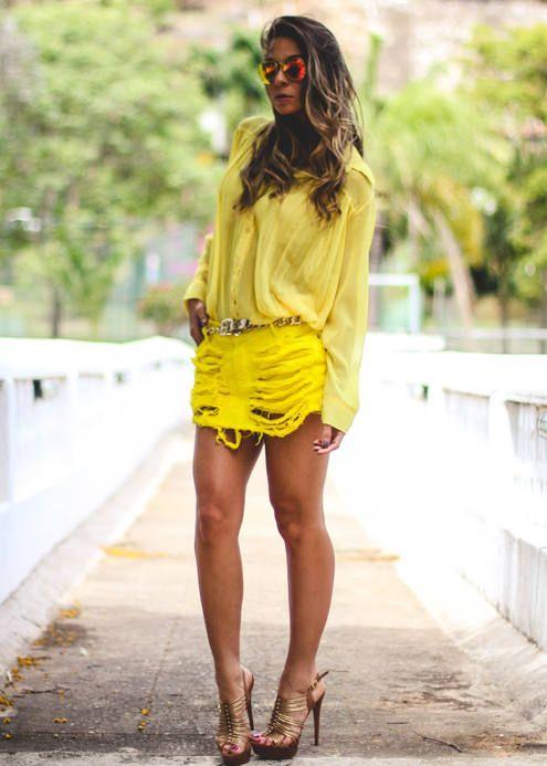 Yellow Distressed Denim Mini Skirt