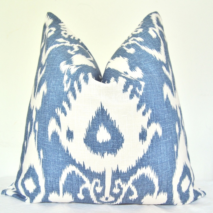 Pillow Cover - Decorative Pillow - Throw Pillow - Sofa Pillow - Ikat - Linen - 20x20 in - Blue ...