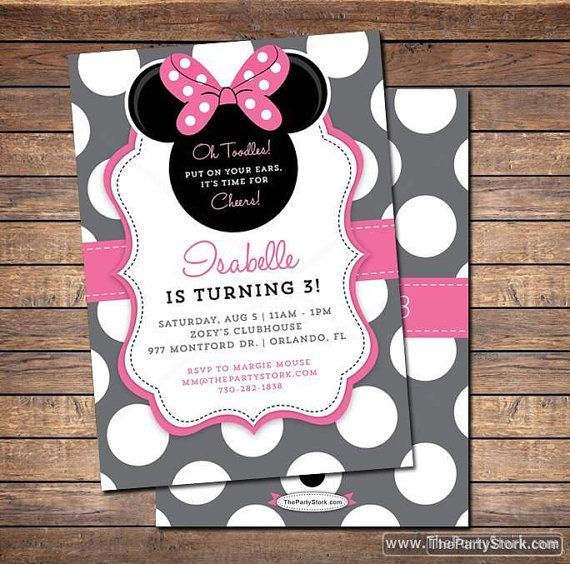 Tarjeta de Invitación Minnie Mouse.