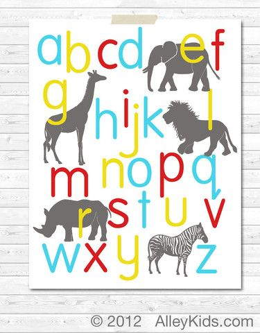 Jungle animal alphabet poster, childrens nursery art.