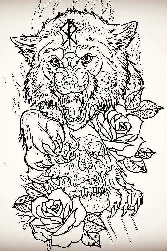 Image Result For Wolf Drawing With Detail Disenos De Calaveras Disenos De Unas Arte De Lobo
