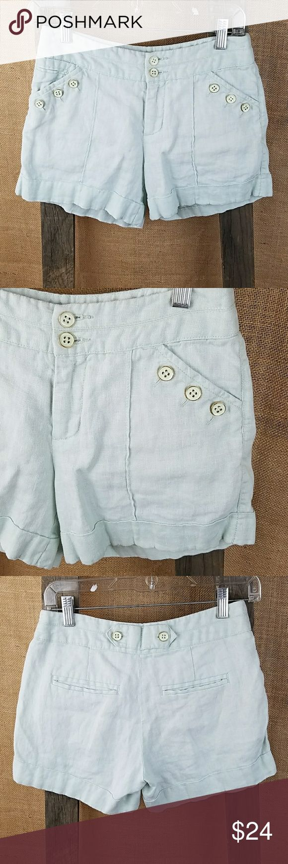 "Cidra Anthropologie womens 0 shorts pale mint gold Cidra Anthropologie womens 0 shorts pale mint gold ascent buttons clubware linen.  Waist side to side: 14"" Length: 12"" Rise: 9"" Anthropologie Shorts"