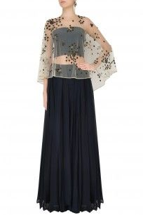 Black Crop Top and Skirt With Floral Embroidered Sheer Cape #cape #top #skirt #set #AgunjbyGunjanArora #newcollection #clothing #indowestern #perniaspopupshop #shopnow