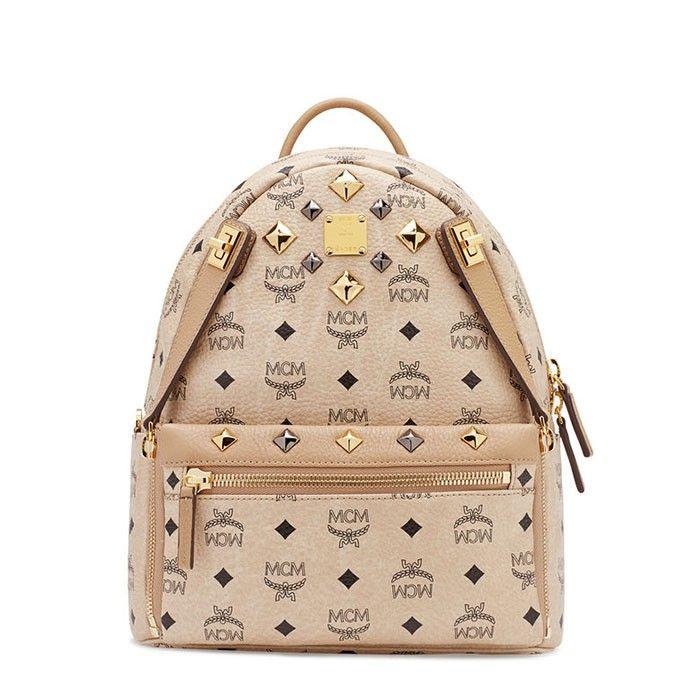 MCM Small Dual Stark Backpack In Beige