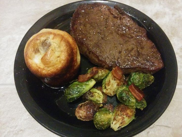 Dinner Tonight - Sous vide top sirloin Yorkshire pudding and oven roasted herbed brussels sprouts with bacon #TTDD