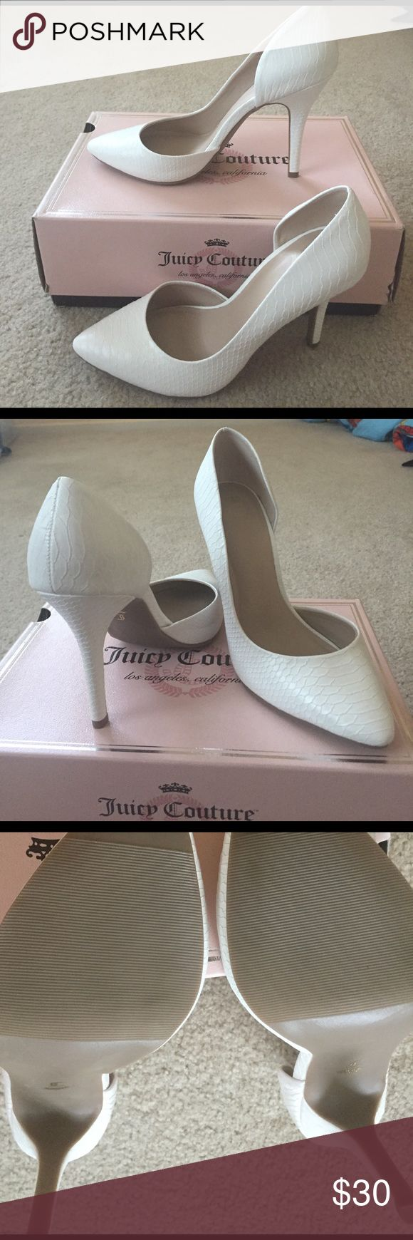 """NWT Juicy Couture Sexy Pumps 👠 New Juicy Couture so stylish and sexy Pumps. There's a slight flaw on the right shoe with hair line indentations. (see last picture and reflected on lower price) but not noticeable unless doing a really closeup inspection. 4"""" heel. Juicy Couture Shoes Heels"""