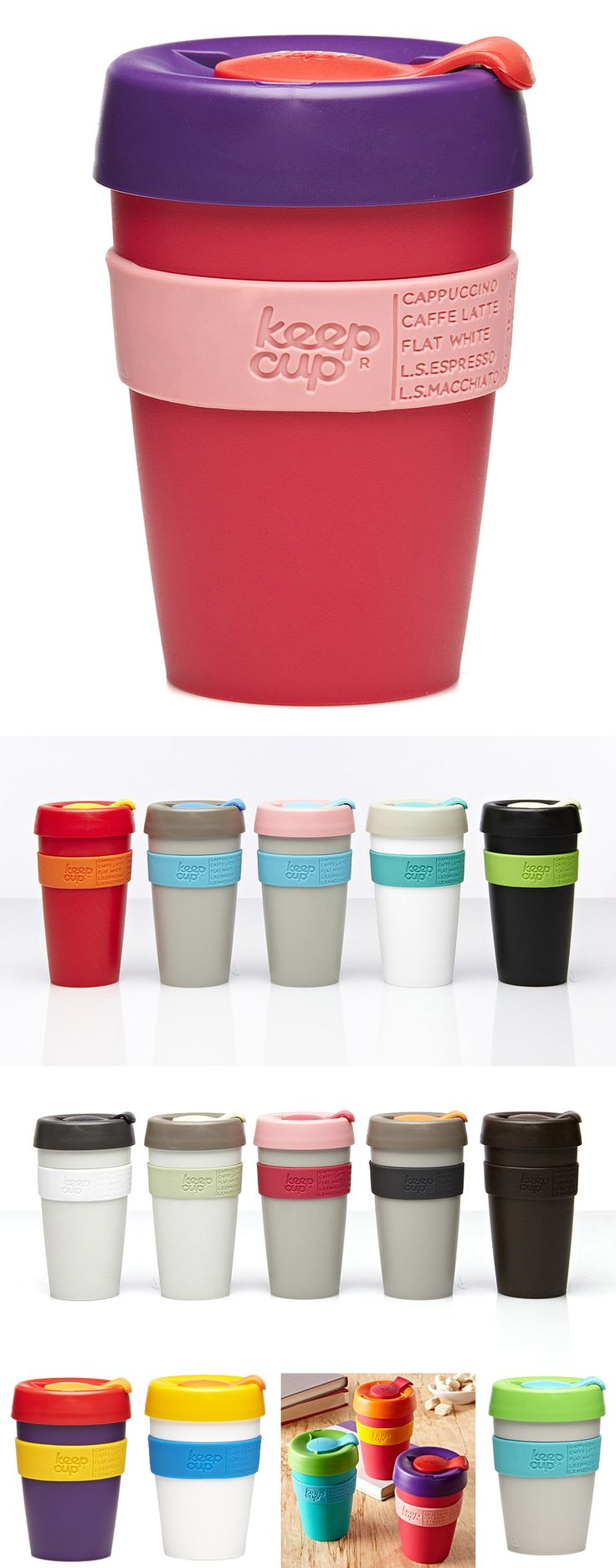 Keep Cup // Barista-approved reusable travel coffee mug w/ infinite color combos, splash-proof lid, 100% recyclable, BPA-free & dishwasher-safe