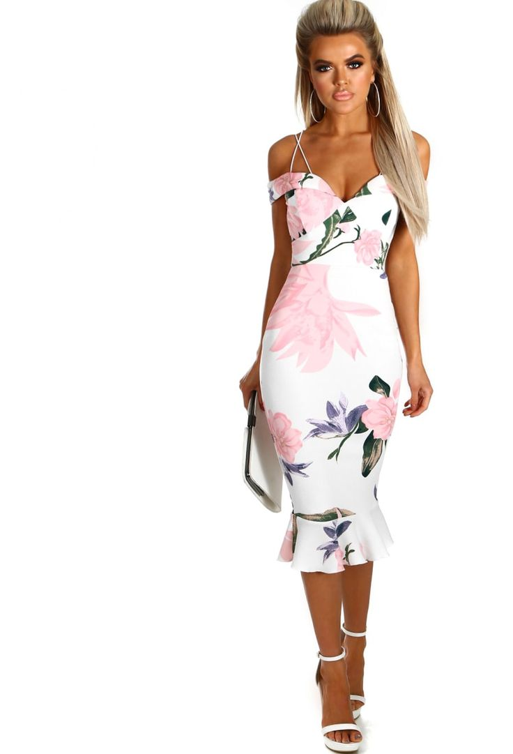Right Now White and Pink Bardot Frill Hem Midi Dress | Pink Boutique
