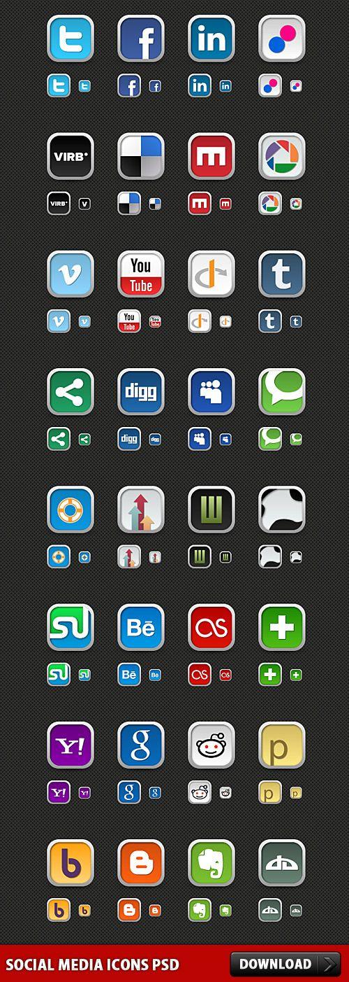 botones en psd de redes sociales para tu web