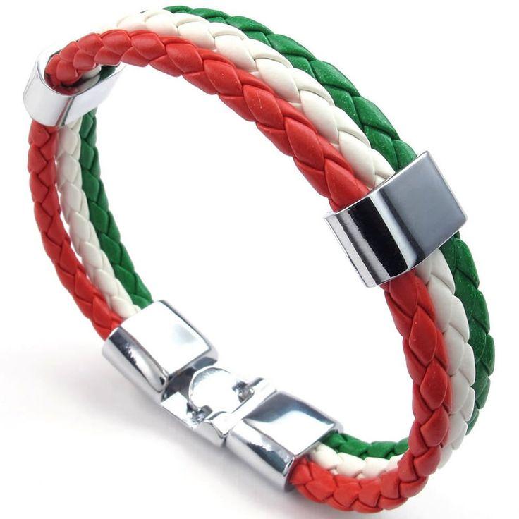 KONOV Bijoux Bracelet Homme - Drapeau Italien Italie Manchette - Cuir - Alliage - Fantaisie - pour Homme et Femme - Chaîne de Main - Couleur Vert Blanc Rouge - Largeur 1.4cm - Longueur 20cm: KONOV: Amazon.fr: Bijoux
