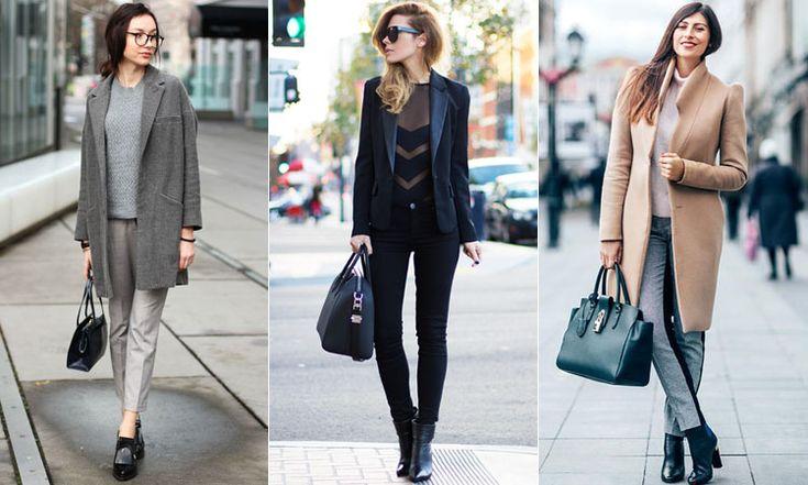 С чем носить кожаные ботильоны под пальто и пиджак