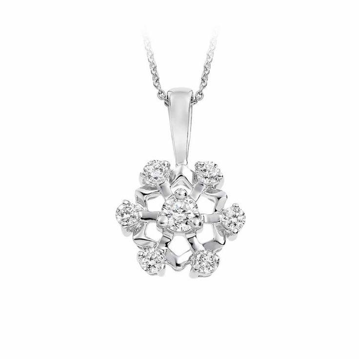 Diamond Pendant Flower Design in 9K White Gold (0.50ct tw.)   The Diamond Channel, Johannesburg