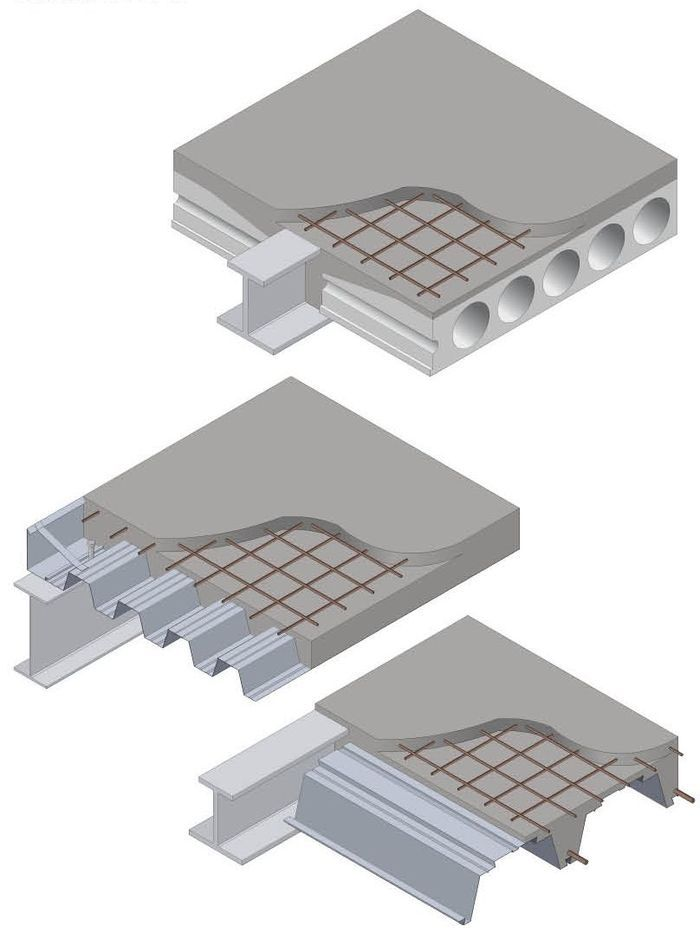 Three ways to the ultimate thermal mass: From top, precast concrete units, composite slabs, shallow floors.
