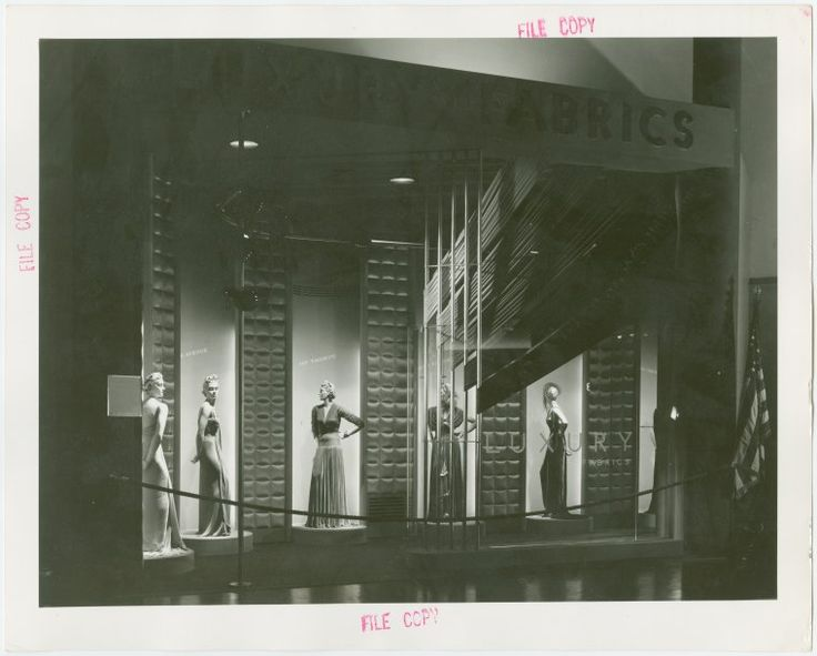 "Fashion, World of - Mannequins - ""Designers of the costumes, left to right, were stylists in the fashion departments of Bonwit Teller, Saks Fifth Avenue, Jay Thorpe, Henri Bendel and Bergdorf Goodman."""
