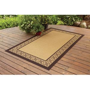 better homes and gardens bamboo border polyester area rug straw