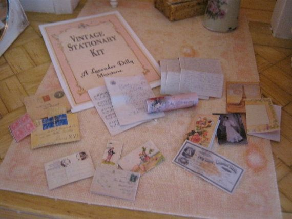 Vintage Stationary Kit for Dollhouse by alavenderdilly on Etsy, $4.00