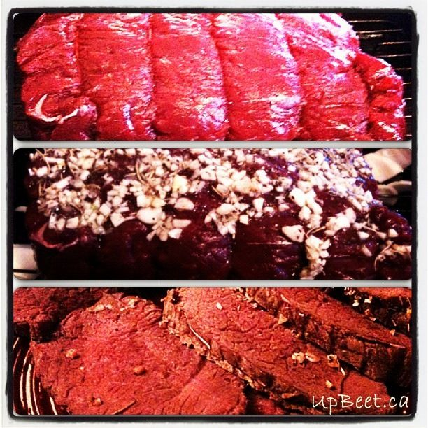 Garlic, Rosemary Moose Roast with red wine gravy. Easy and delicious recipe.