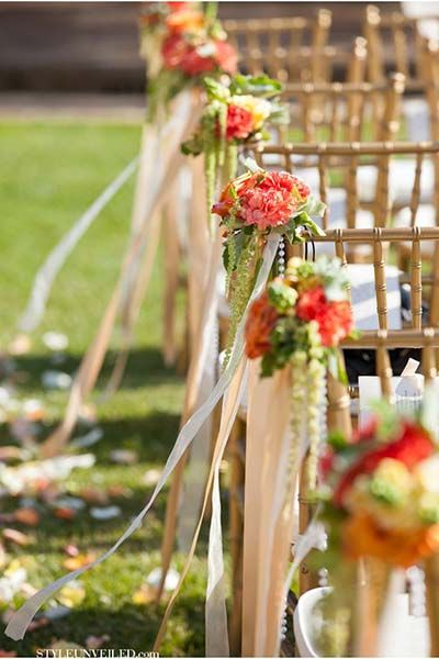 Rustic Pew Markers with Ribbon and Flowers
