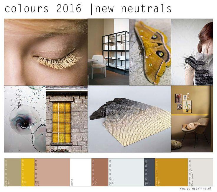 Stylink colour trends 2016 Met mijn stylingbureau PURE styling combineer ik mijn werk als fotostylist, retailstylist en interieurontwerper. Het is in mijn vak belangrijk de laatste trends op het gebied van vorm, kleur en materiaal te volgen. Ook maak ik trend-moodboards in opdracht voor diverse retailformules. Ik visualiseerde twee van de kleurtrends die ik zie voor 2016.
