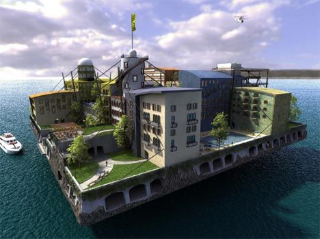 From army forts turned into pirate radio stations and oil platforms converted into micro-nations, the notion of living full-time on the high seas is nothing new. However, these amazing award-winning designs from the recent Seasteading contest float in front of us five jaw-dropping possibilities for the future of urban life on the sea unlike any artificial islands you have ever seen (including this recycled floating paradise island).Cities Design, Floating Islands, Swimming Pools, Waterworld, Architecture Interiors, For The Future, Future Cities, Water World, Design Concept