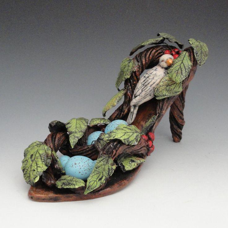 Ceramic Sculpture Birds Nest Shoe Sculpture (Made to Order). $230.00, via Etsy.