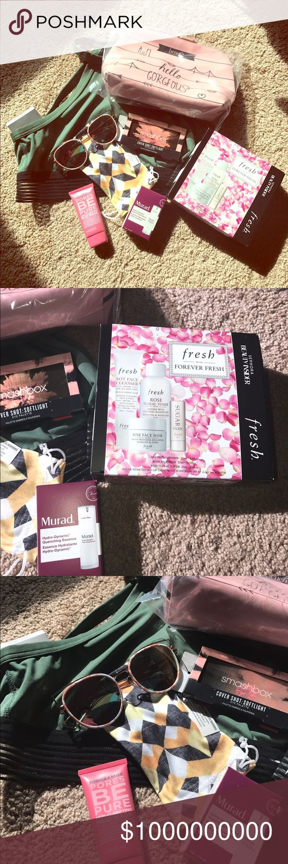 GIVE AWAY!!!!Read for details 👇🏽 Another give away!!! How to enter!? MUST FOLLOW✅, SHARE THIS LISTING♻️, AND LIKE THIS LISTING❤️!!!! Winner receives Large Green VS Cropped Bra, Benefit Makeup Bag, Gorgeous pink lens sunglass, new smash box cover shot eye palette in soft light, Forever Fresh Kit, Murad Hydro-Dynamic Essence, and Formula mud mask!!! Winner will be chosen by random generator and announced on April 30th!!! Must enter by the 29th. I check to make sure you did all of above…
