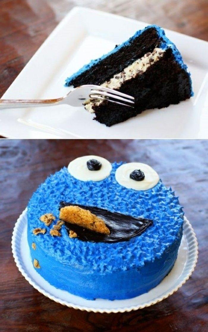 coole Idee-für Kuchen für Kindergeburtstags-Plätzchen-Monster   – Geburtstagskuchen