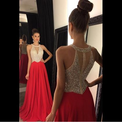 2016 Red Beading Halter Long Prom D..