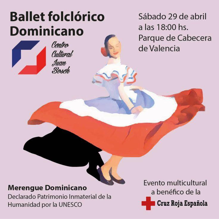 El Ballet Folclórico del Centro Cultural Juan Bosch de Valencia actuará este sábado 29 de abril en el Parque de Cabecera en un evento multicultural beneficio de la Cruz Roja.  #Actobenéfico #BalletFolklóricoDominicano #CruzRojaEspañola