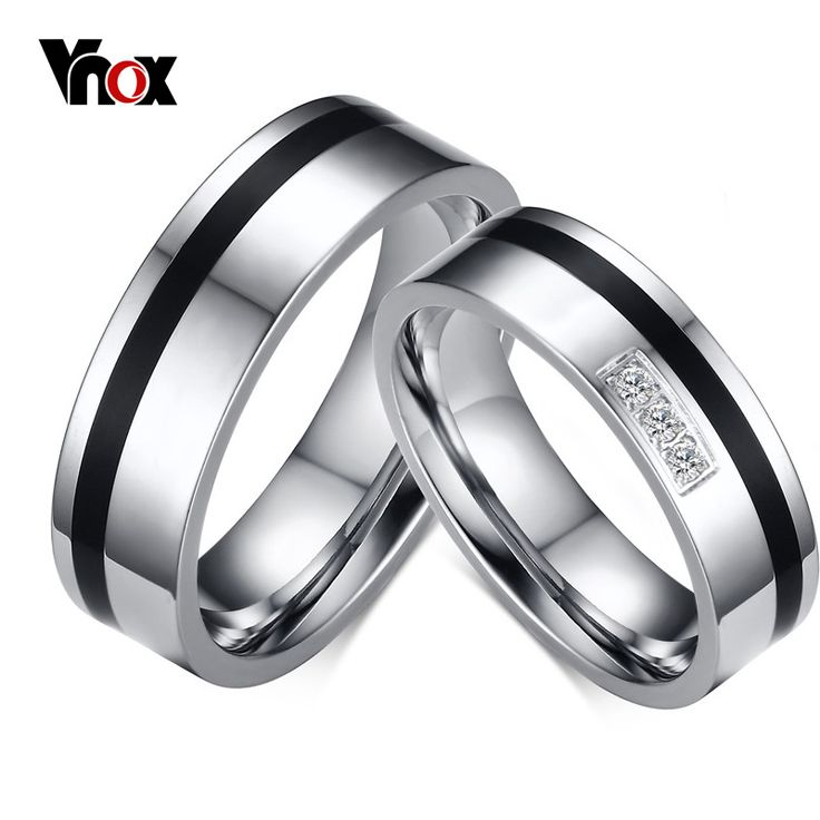 Vnox Black Wedding Bands Rings for Women Men Trendy Alliance White Gold Plated Rings Jewelry Wholesale