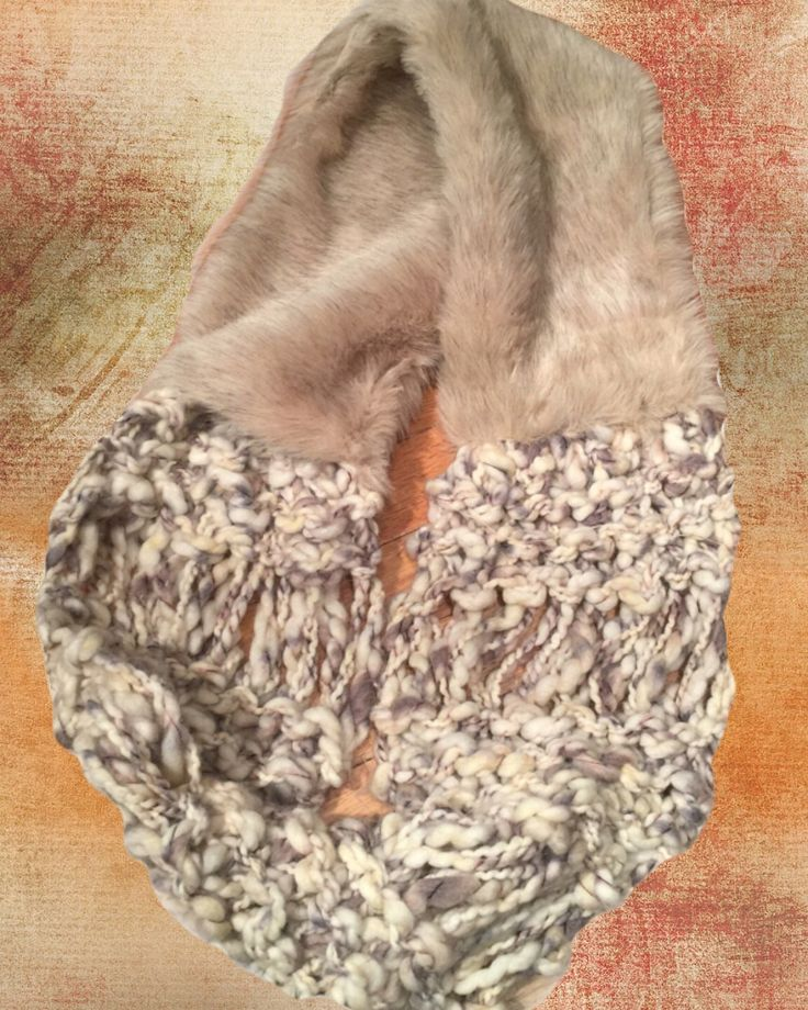 Faux Fur with hand knit loop by Jamie Kreitman