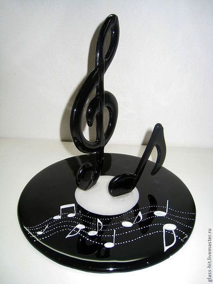 """Музыкальный приз """"Скрипичный ключ"""". Стекло.Фьюзинг"""