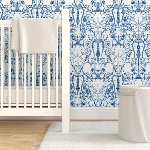 Damask Wallpaper Bedroom White Blue By Peacoquettedesigns Damask Custom Printed Removable Self Adhesive Wallpaper Roll By Spoonflower Damask Wallpaper Bedroom Wallpaper Bedroom Peel And Stick Wallpaper
