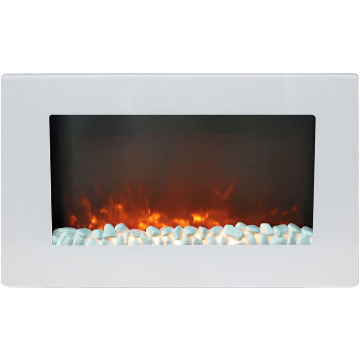 Cambridge CAM30WMEF-1WHT Callisto 30 In. Wall-Mount Electric Fireplace in White with Crystal Rock Display (White)