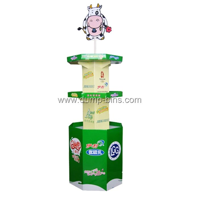 B060 POP Corrugated Tower 4 Side Display With Logo for Milk_Dump Bins