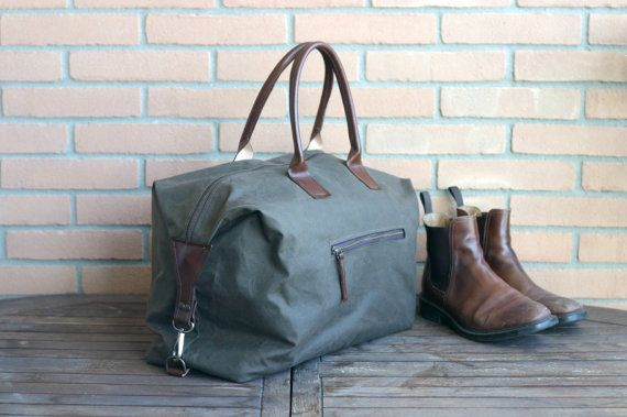 Waxed canvas weekender bag - overnight bag - waxed canvas traveller bag - mens bag - duffle bag - waxed canvas bag - canvas and leather bag