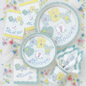 Baby Stitching Pastel Baby Shower Party Pack. Includes   8 Invitations   16 Luncheon Napkins   8 Dinner Plates   8 Cups   1 Tablecover (not shown)   1 Banner (not shown)   8 Printed Balloons (not shown)   Baby Stitches Confetti