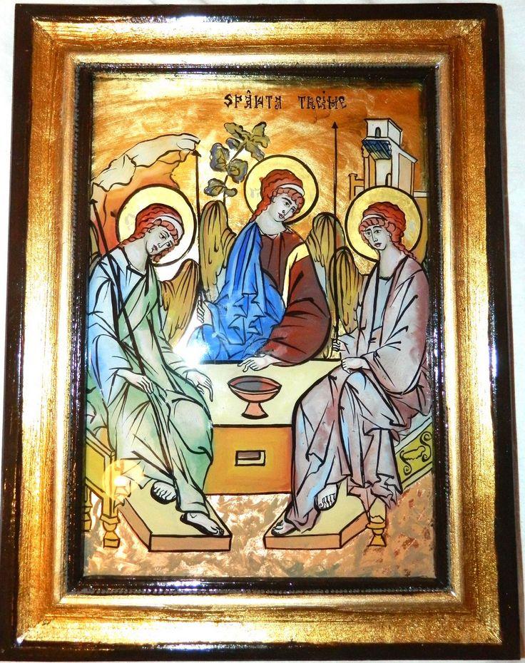 Holy Trinity glass icon