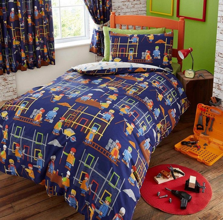Building Site Construction Boys Bedding Crib/Toddler Or Twin Duvet Cover /  Comforter Cover Set