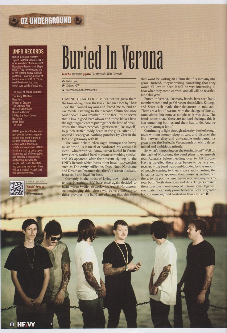 Buried In Verona's interview in April's Heavy Magazine