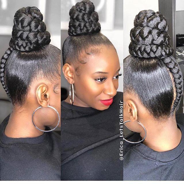 Sleek Braided Bun Updo Weave Hairstyles Braided Natural Hair