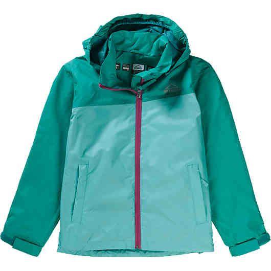 Sämtliche Nähte der MC KINLEY Regenjacke Dingwall für Mädchen sind wasser- und winddicht verschweißt. Im Saum befindet sich ein praktischer Tunnelzug mit elastischen Stoppern.<br /> <br /> - wasserdicht (Wassersäule 5.000 mm) <br /> - abknöpfbare Kapuze mit elastischen Kanten <br /> - durchgehender, unterlegter Reißverschluss mit Kinnschutz<br /> - zwei Reißverschlusstaschen vorne<br /> - zusätzlicher, praktischer Transportbeutel<br /> - elastische Ärmelsäume per Klettband regulierbar<br…