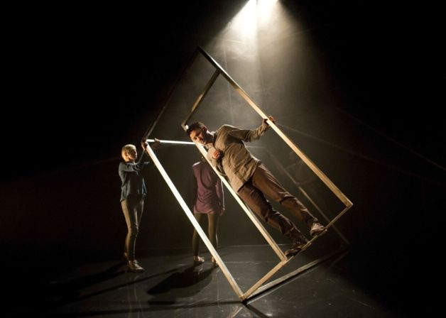 Steel frame set design. Using physical theatre to move around the stage, a good idea but I am not sure if this will be practical enough bringing it on and off stage.