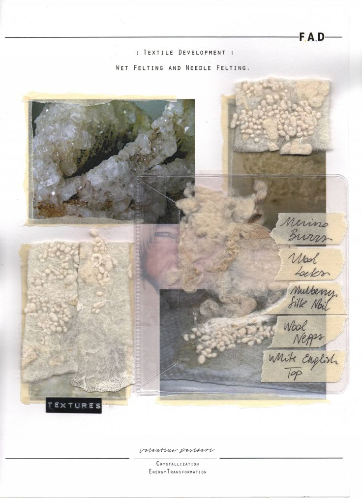 Fashion Sketchbook - felting samples exploring organic textures; textile development for fashion design; fashion portfolio // Valentina Desideri