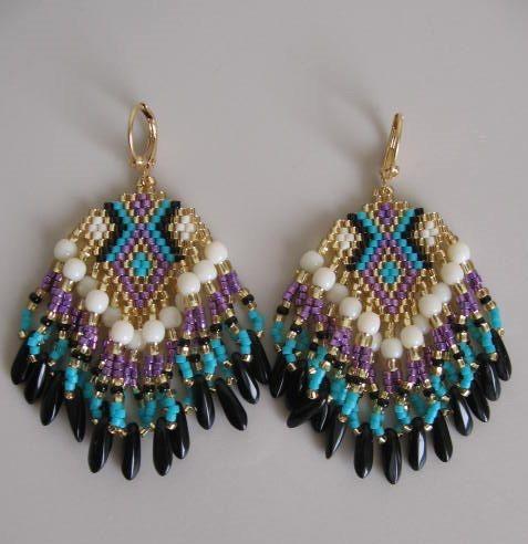 SALE - Seed Bead Earrings - Purple/Turquoise - Copyright 2014 - Patti Ann McAlister.